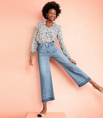 Let Down Hem High Waist Wide Leg Jeans