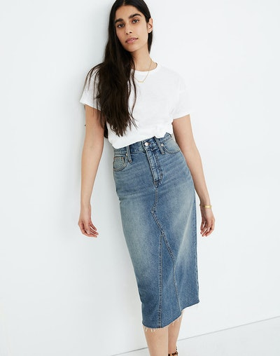 Madewell Rigid Denim Midi Skirt