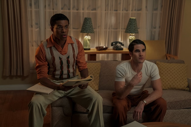 Jeremy Pope and Darren Criss in 'Hollywood.'