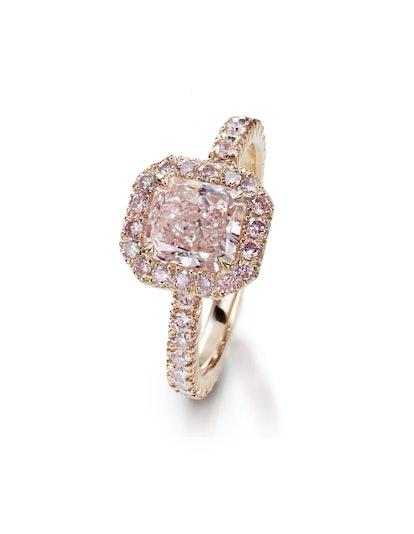 Radiant Cut Pink Diamond Engagement Ring