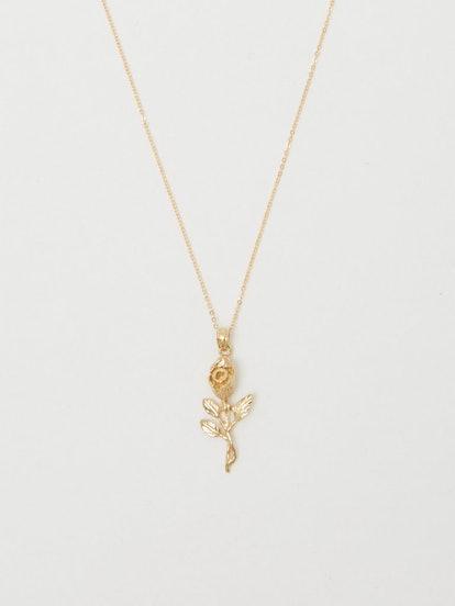 14K Gold Rose Necklace