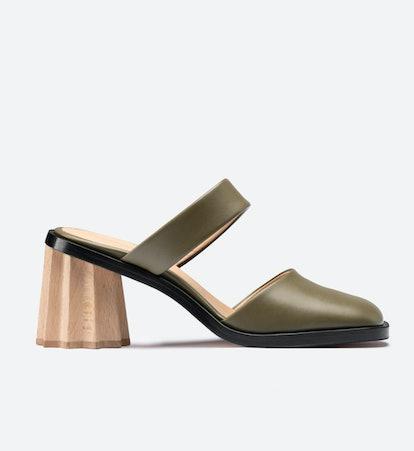 Pleated Heel Mules Olive