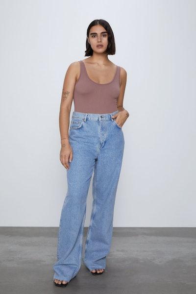 Zara ZW Premium Extra Long '90s Wide Leg Sky Blue Jeans