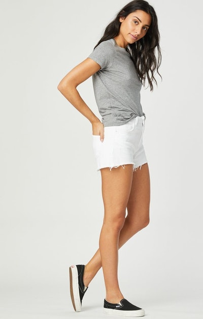 Mavi Rosie Boyfriend Short in White Ripped Stretch