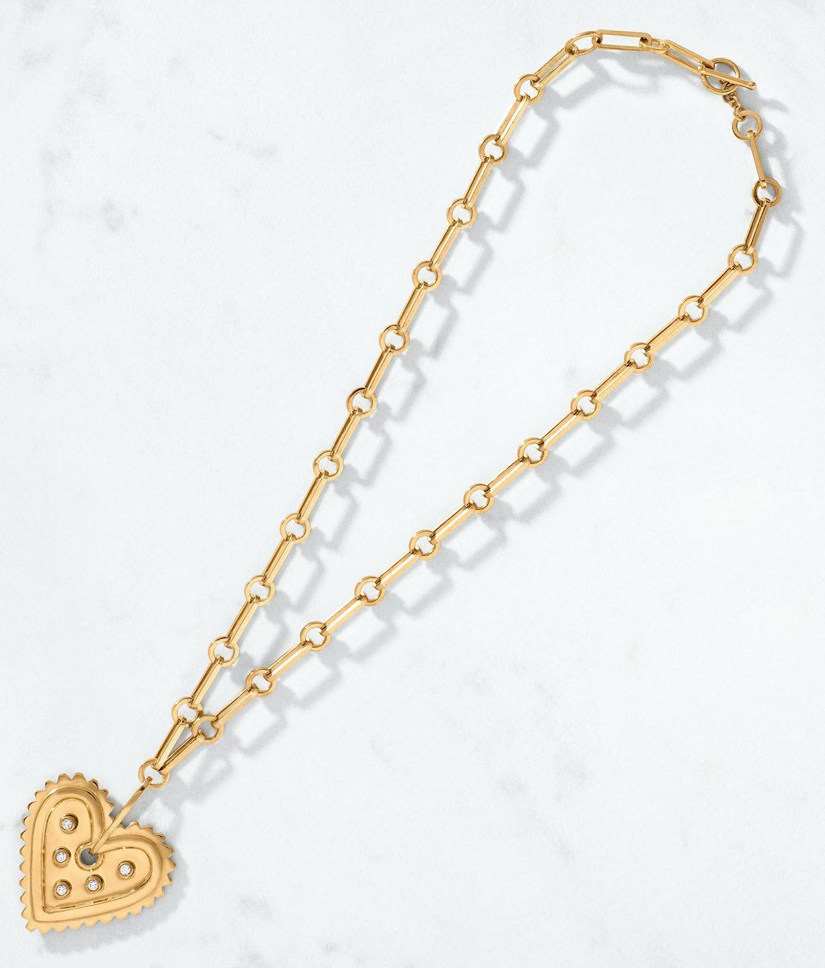 Bold Heart Diamond Pendant & Long Link Chain