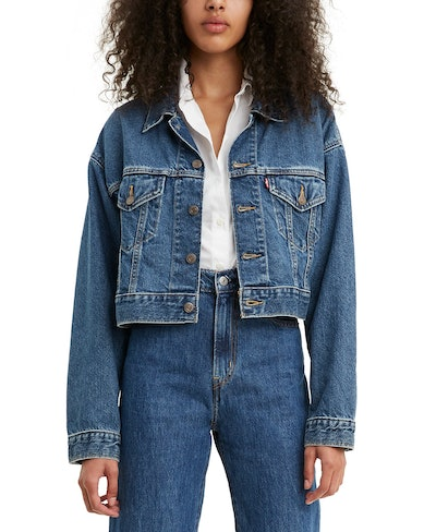 Levi's Cotton Denim Cropped Trucker Jacket