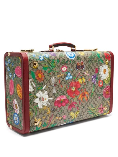 GG Flora Coated Canvas And Leather Suitcase