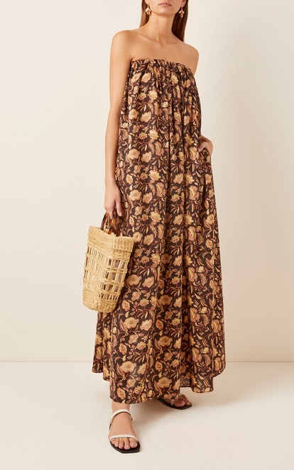 Strapless Floral-Print Cotton Maxi Dress