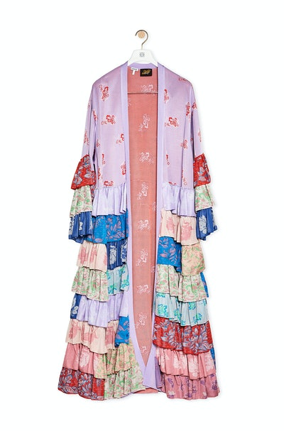 Multicolor front Ruffle Knit Robe Coat In Viscose