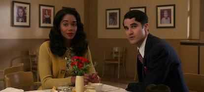 Laura Harrier as Camille Washington & Darren Criss as Raymond Ainsley in 'Hollywood' on Netflix
