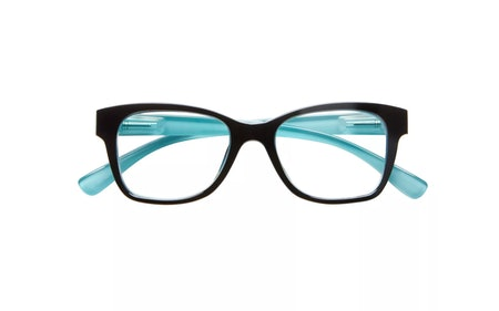ICU Eyewear Screen Vision Blue Light Filtering Lifted Oval Black Turquoise Glasses