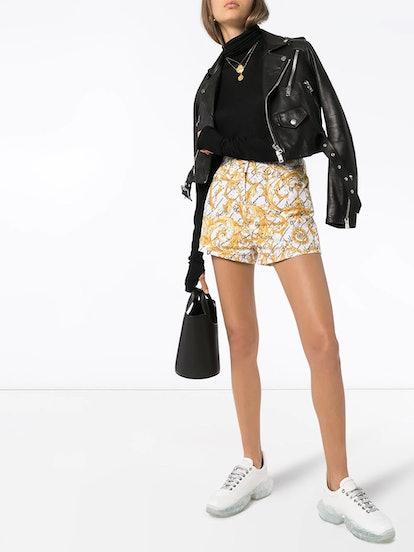 Baroque print denim shorts