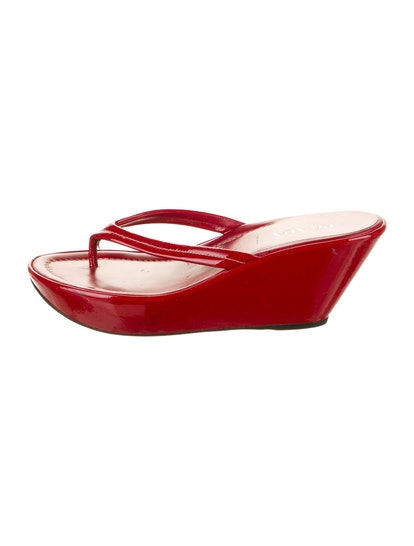 Patent Leather Thong Wedge Sandals