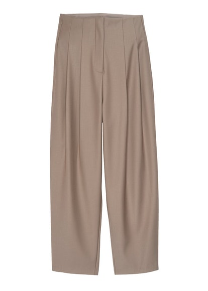 Bandless Pleated Trousers- Dark Taupe
