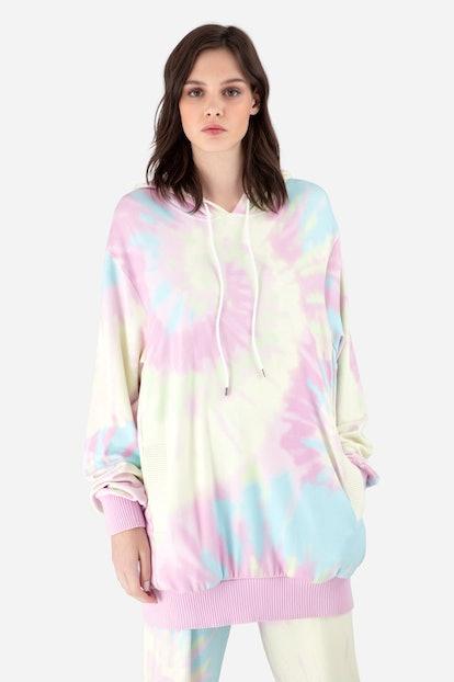 Pink Tie-Dye Jersey Hoodie