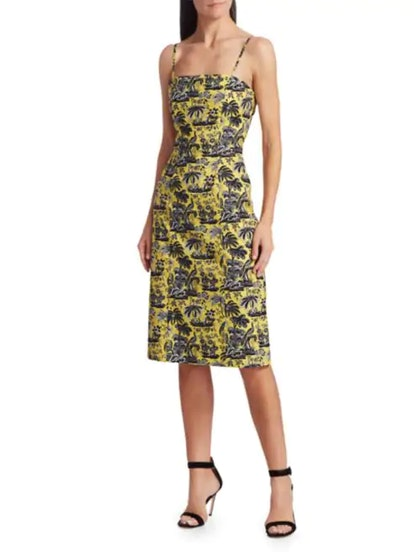 Basset Paradise Print Midi Dress