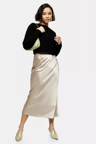 Petite Mink Satin Bias Maxi Skirt
