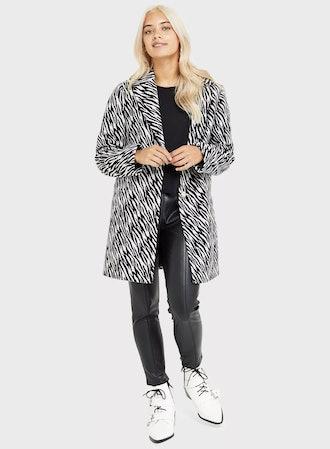 Petite Black Zebra Print Crombie Jacket