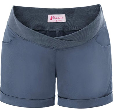 Womens Maternity Low-Rise/Over Bump Casual Elastic Waist Shorts with Pockets