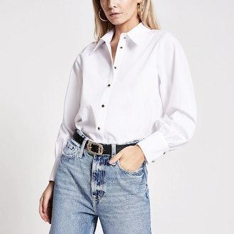 Petite White Long Sleeved Shirt
