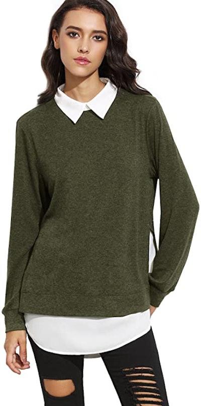 Romwe Classic Collar Pullover Sweatshirt