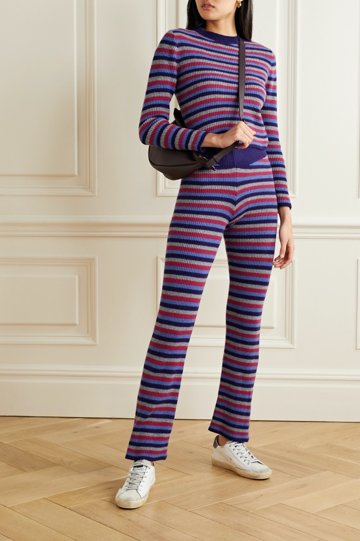 Ribbed Striped Cashmere Flared Pants