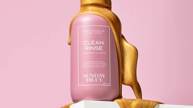 Formula and bottle of Sunday Riley Clean Rinse.