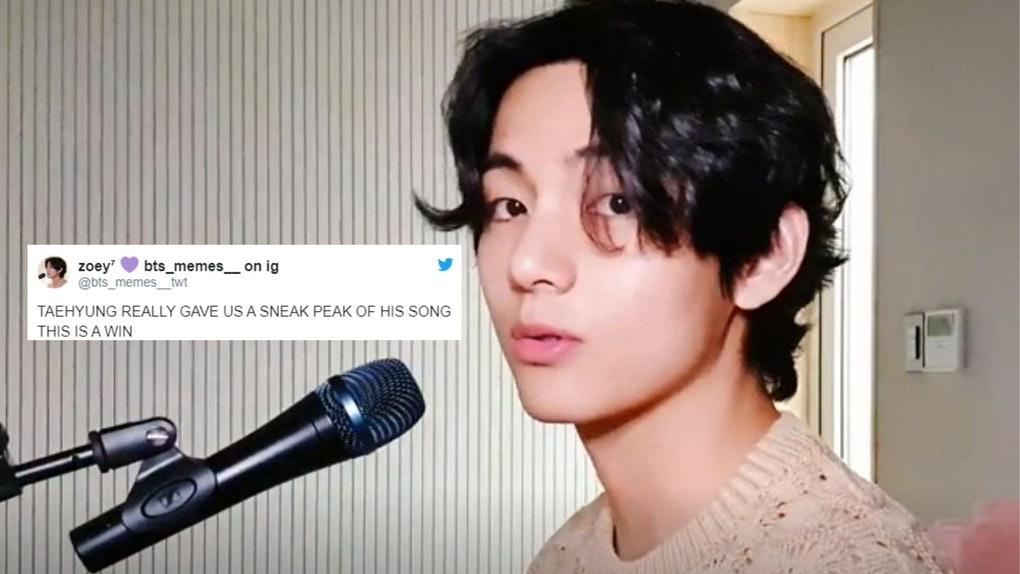 A screenshot from the video of BTS' V teasing a new solo song.