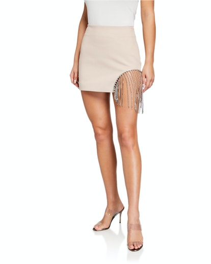 Crystalized Fringed Mini Skirt