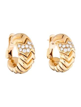 18K Diamond Spiga Hoop Earrings