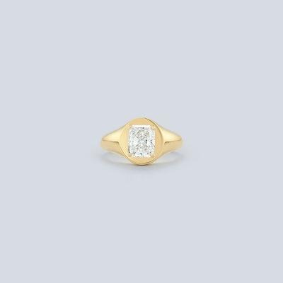 Bespoke Radiant Diamond Signet Engagement Ring