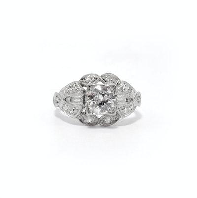 Art Deco Engagement Ring in Platinum