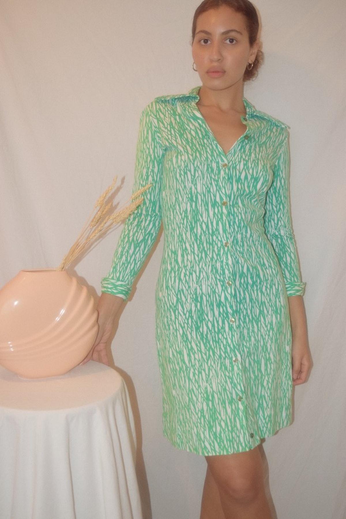 Vintage 1970s DVF Green Twig Print Knit Dress