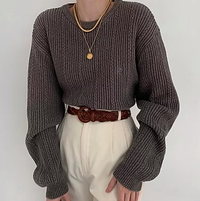 Vintage Stone Ribbed Knit Sweater
