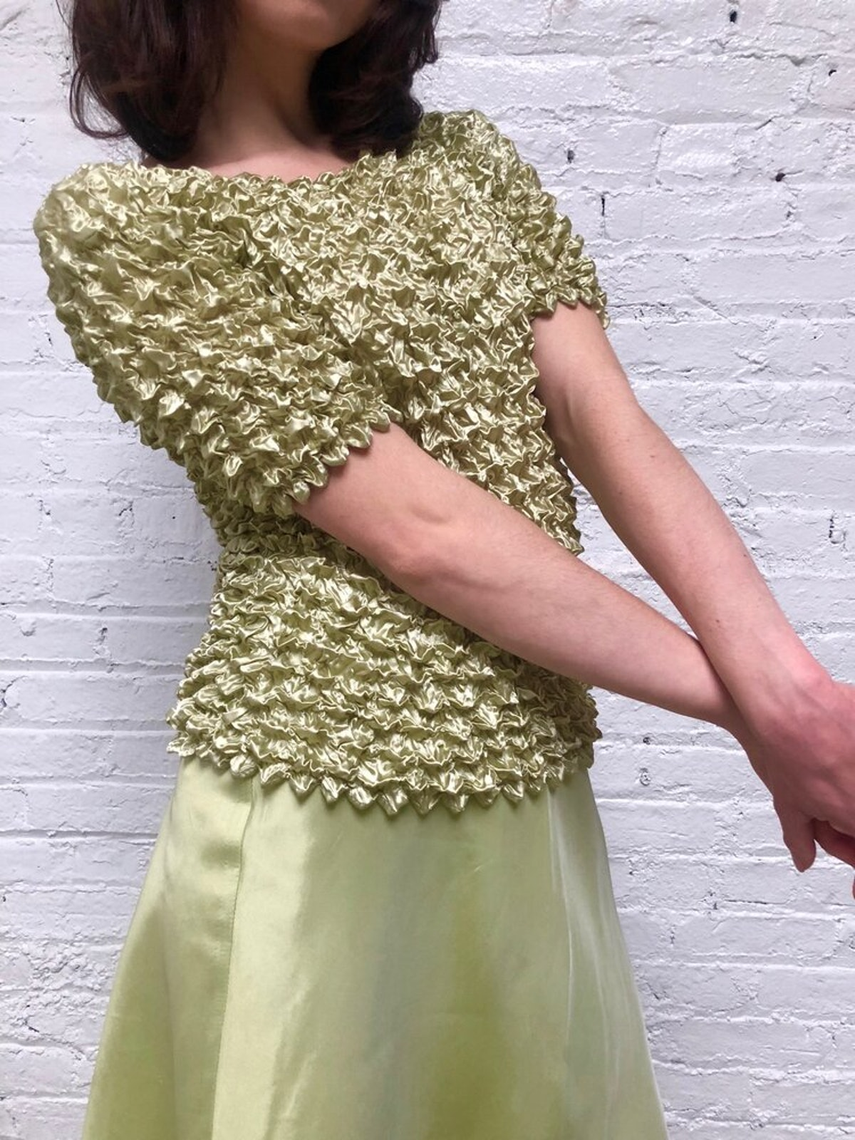 Vintage Pearly Green Popcorn Top