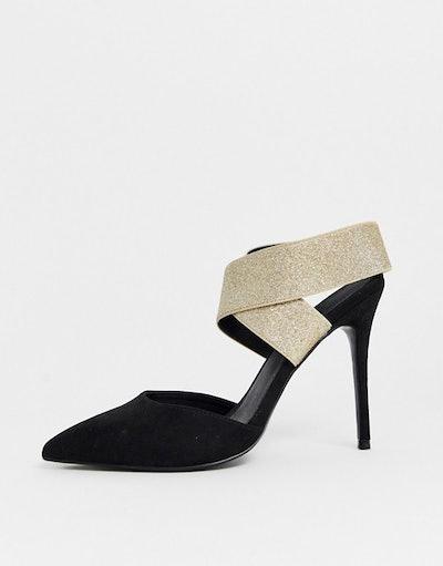 Wide Fit Elastic High Heels