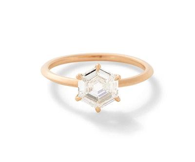 The Rose Gold Fia Hexagonal Rose Cut Ring
