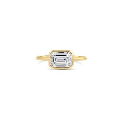 East-West Emerald Cut Diamond Bezel Ring