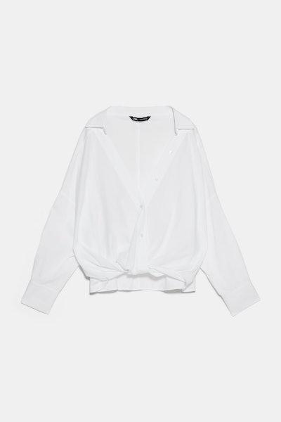 Poplin Shirt With Knot