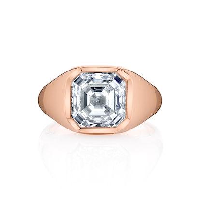 Bespoke 3 Carat Asscher Cut Diamond in an 18k Rose Gold Signet Setting