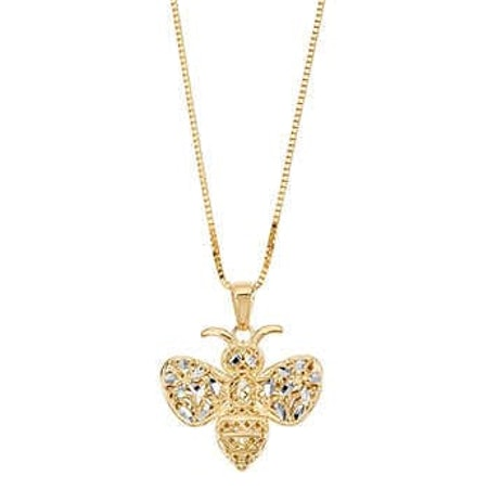 14kt Two-tone Gold Bee Pendant Necklace