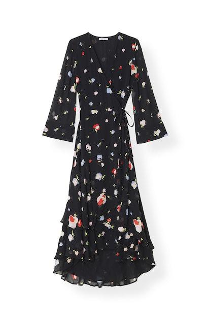Printed Georgette Wrap Dress