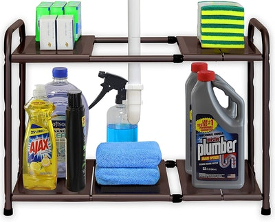 Simple Houseware Under Sink 2-Tier Expandable Shelf Organizer Rack