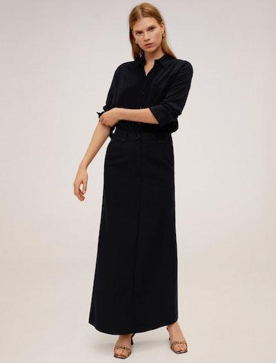 Black Flared Long Skirt