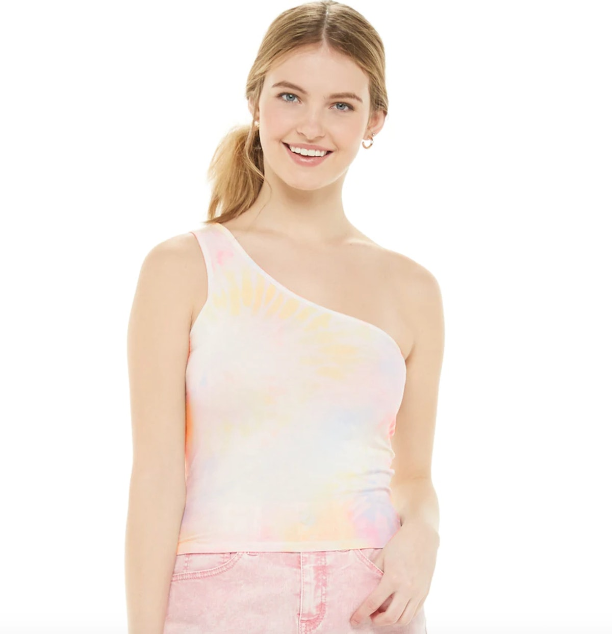Juniors' SO® One Shoulder Cropped Tank Top