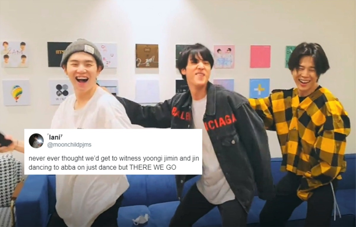 A screenshot from the videos of BTS' Jimin, Suga, and Jin playing Just Dance.