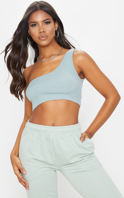 PrettyLittleThing Dove Grey One Shoulder Rip Crop Top