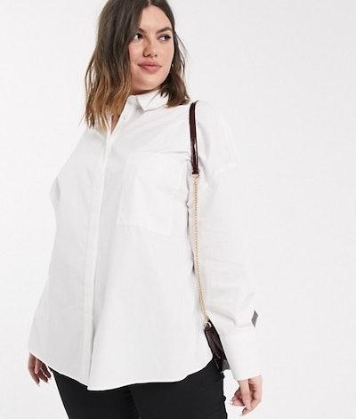 Asos Design Curve Long Sleeve Boyfriend Shirt