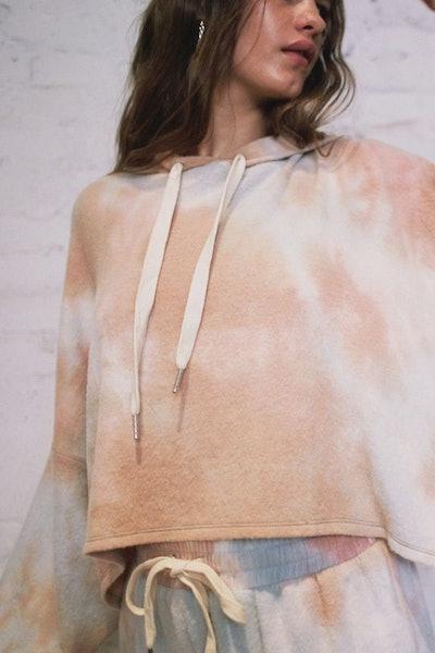 Jenny Tie-Dyed Cropped Hoodie Sweatshirt