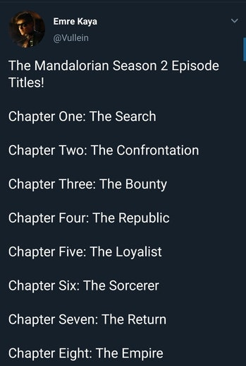 Mandalorian Season 2 Spoilers Episode Titles Leak Teases Ahsoka S Return